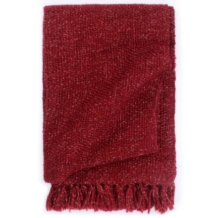 Copriletto con Lurex 160x210 cm Rosso Borgogna