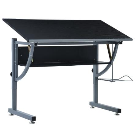 Tavolo da Disegno per Ragazzi Nero 110x60x87 cm in MDF