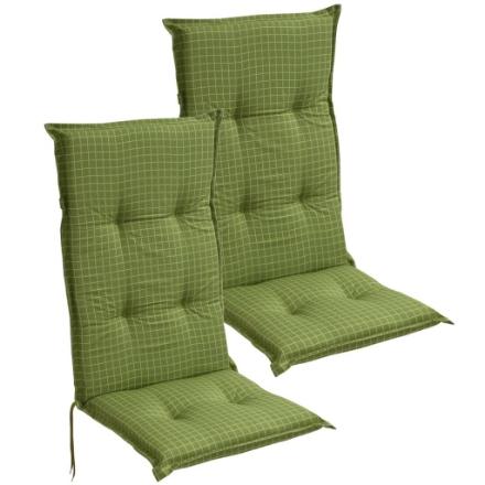 Cuscini con Schienale per Sedie da Giardino 2 pz 117x49 cm Verde