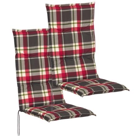 Cuscini con Schienale per Sedie da Giardino 2 Pezzi 117x49 cm Rosso e Verde