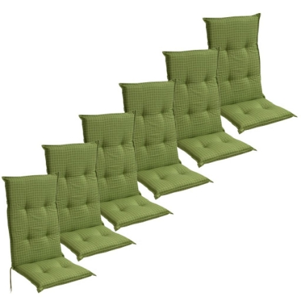 Cuscini con Schienale per Sedie da Giardino 6 Pezzi 117x49 cm Verde