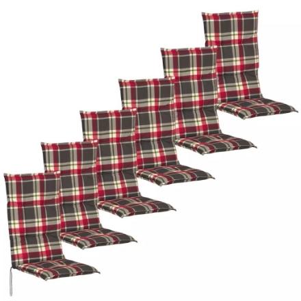 Cuscini con Schienale per Sedie da Giardino 6 Pezzi 117x49 cm Rosso e Verde