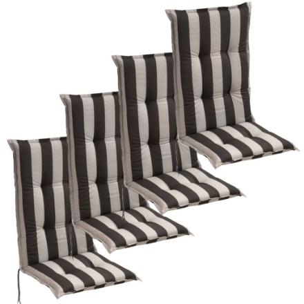 Cuscini con Schienale per Sedie da Giardino 4 Pezzi 120x52 cm a Righe Scure