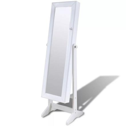 Armadietto Bianco per Gioielli con Luce a LED e Anta con Specchio