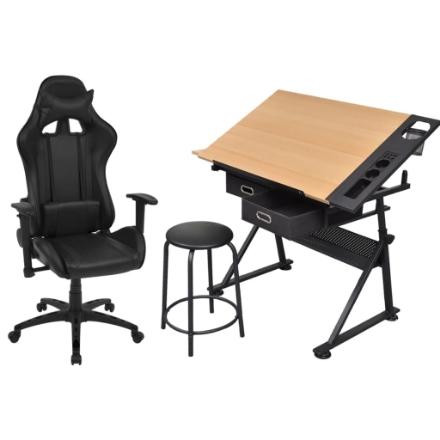 Tavolo da Disegno Inclinabile con Sedia da Ufficio