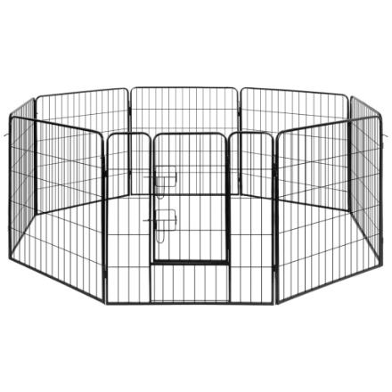 Box per Cani con 8 Pannelli in Acciaio