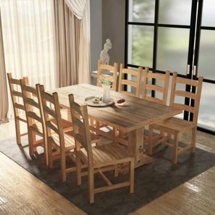 9 Pezzi Set Grande Tavolo e Sedie Sala da Pranzo in Teak