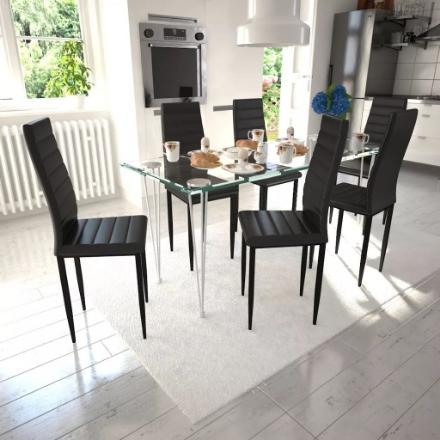 Set 6 sedie da tavola nere linea sottile con 1 tavolo vetro