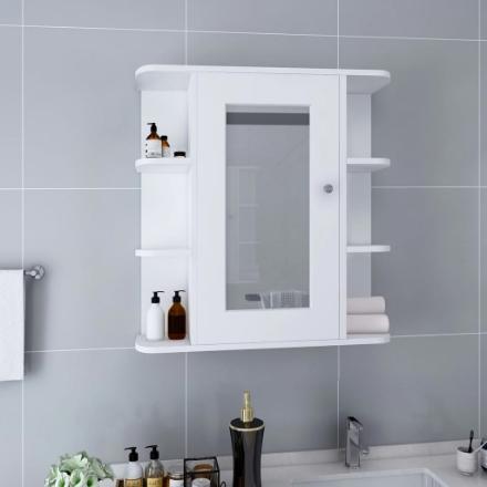 Armadietto a Specchio Bianco 66x17x63 cm in MDF