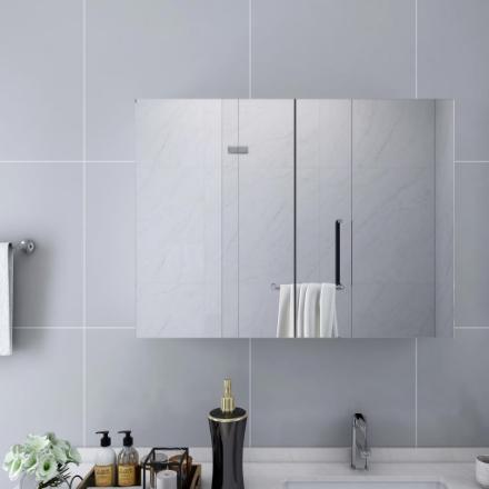 Armadietto a Specchio Bianco 80x15x60 cm in MDF