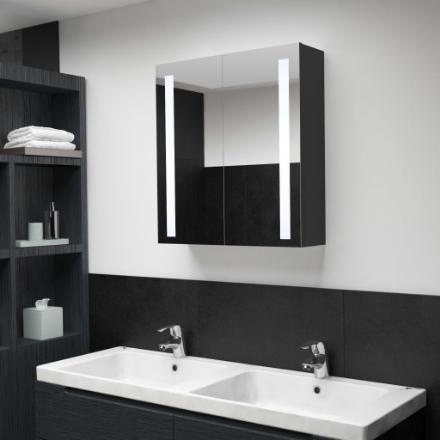 Armadietto Bagno con Specchio e LED 62x14x60 cm