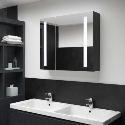 Armadietto Bagno con Specchio e LED 89x14x62 cm