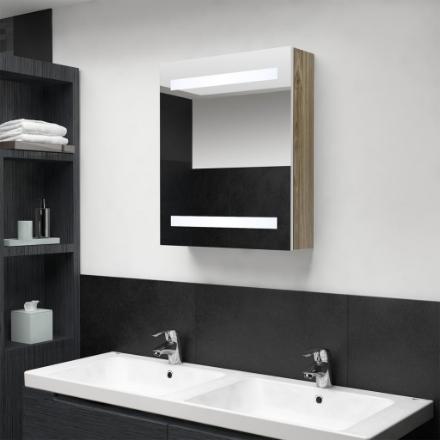 Armadietto Bagno con Specchio e LED Bianco e Rovere 50x14x60 cm