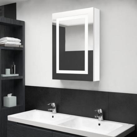 Armadietto Bagno con Specchio e LED Bianco Lucido 50x13x70 cm
