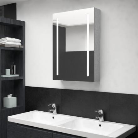 Armadietto Bagno con Specchio e LED Grigio Cemento 50x13x70 cm