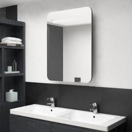 Armadietto Bagno con Specchio e LED Grigio 60x11x80 cm