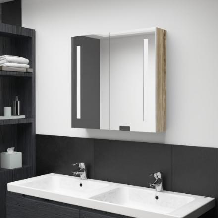 Armadietto Bagno con Specchio e LED Bianco e Rovere 62x14x60 cm