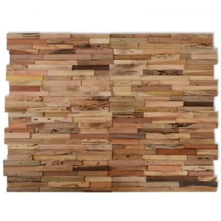 10 Pannelli di Rivestimento per Pareti 1 m² in Teak Riciclato