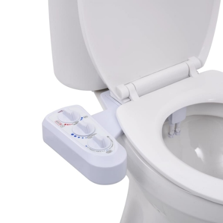 Bidet Accessorio per WC a Doppio Ugello Acqua Calda e Fredda