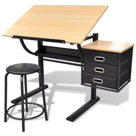 Tavolo da Disegno Inclinabile con 3 Cassetti e Sgabello