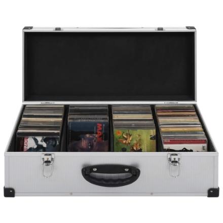 Custodia CD per 80 CD in Alluminio ABS Argento