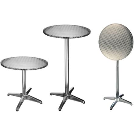 HI Tavolino Pieghevole da Bar in Alluminio Rotondo 60x60x(58-115) cm