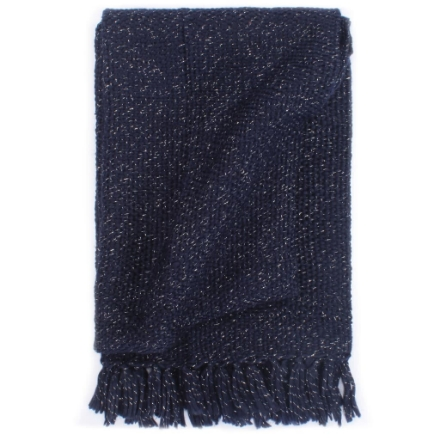 Copriletto con Lurex 160x210 cm Blu Marino