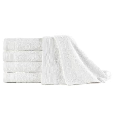Asciugamani 5 pz in Cotone 450 gsm 50x100 cm Bianchi