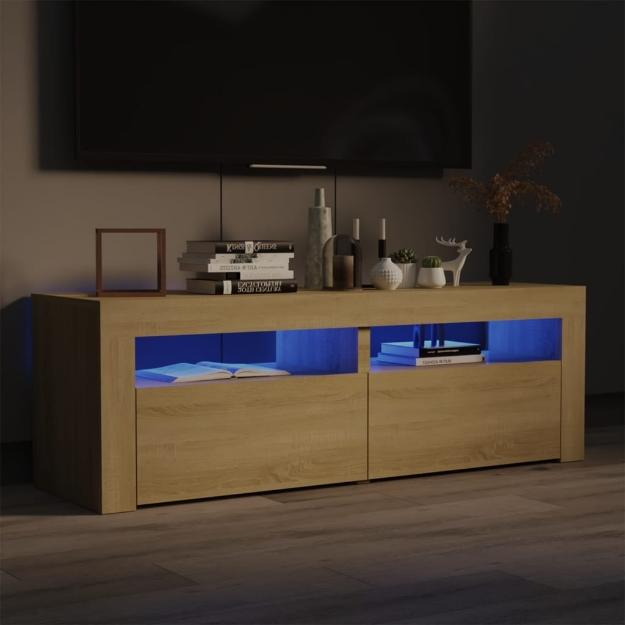 Mobile Porta TV con Luci LED Rovere Sonoma 120x35x40 cm