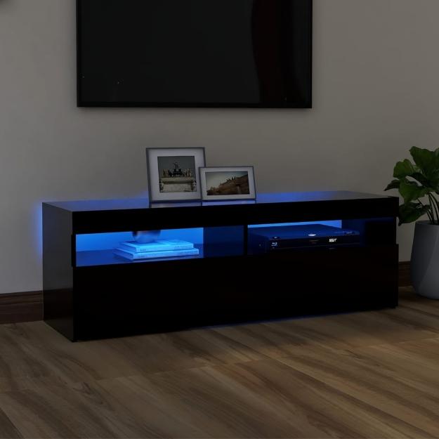 Mobile Porta TV con Luci LED Nero 120x35x40 cm