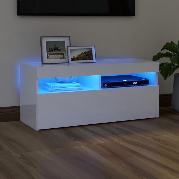 Mobile Porta TV con Luci LED Bianco Lucido 90x35x40 cm