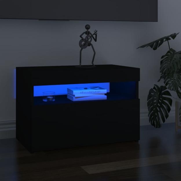 Mobile Porta TV con Luci LED Nero 60x35x40 cm