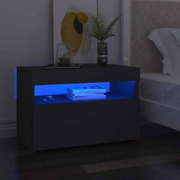 Mobile Porta TV con Luci LED Grigio 60x35x40 cm