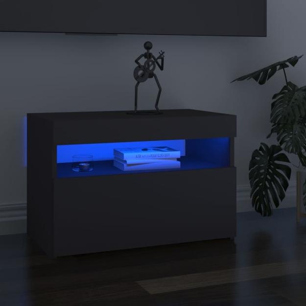 Mobili Porta TV con Luci LED 2 pz Grigi 60x35x40 cm