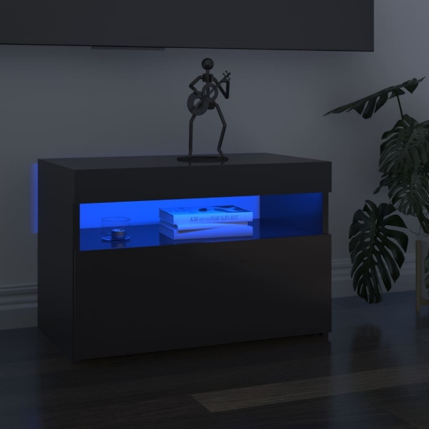 Mobile Porta TV con Luci LED Grigio Lucido 60x35x40 cm