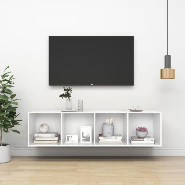Armadietto da Parete per TV Bianco 37x37x142,5 cm in Truciolato