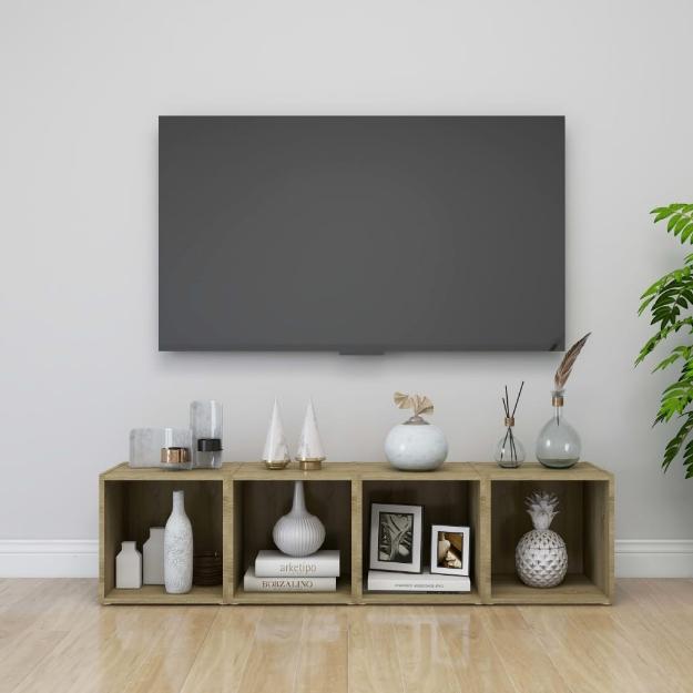 Mobile Porta TV 4 pz Rovere Sonoma 37x35x37 cm in Truciolato
