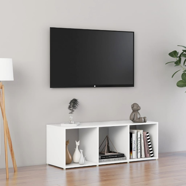 Mobile Porta TV Bianco 107x35x37 cm in Truciolato