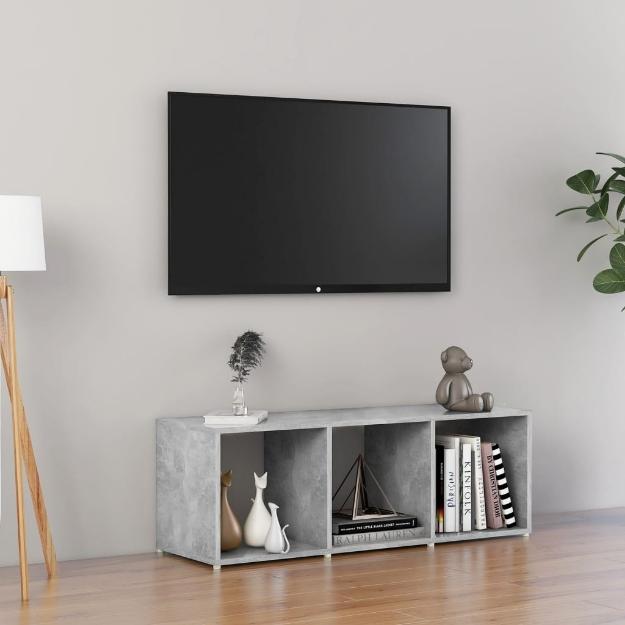 Mobile Porta TV Grigio Cemento 107x35x37 cm in Truciolato