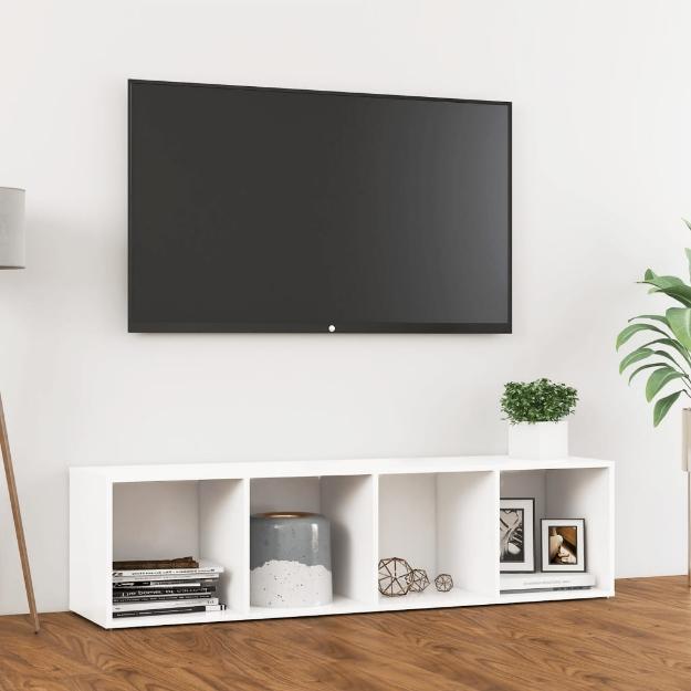 Mobile Porta TV Bianco 142,5x35x36,5 cm in Truciolato