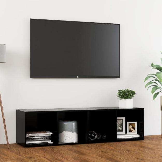 Mobile Porta TV Nero 142,5x35x36,5 cm in Truciolato