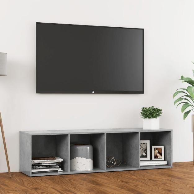 Mobile Porta TV Grigio Cemento 142,5x35x36,5 cm in Truciolato