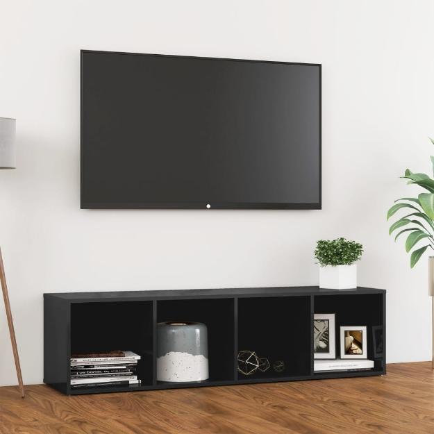 Mobile Porta TV Grigio Lucido 142,5x35x36,5 cm in Truciolato