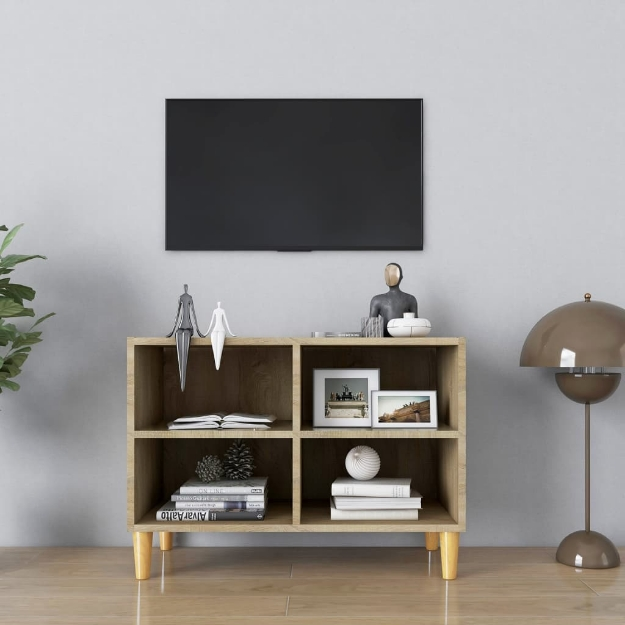 Mobile TV con Gambe in Legno Massello Rovere Sonoma 69,5x30x50 cm