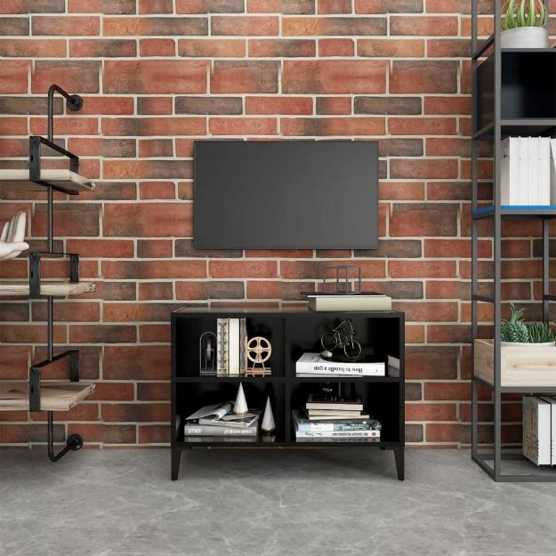 Mobile TV con Gambe in Metallo Nero 69,5x30x50 cm
