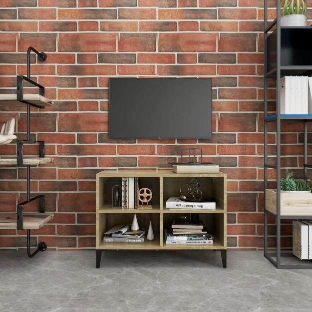 Mobile TV con Gambe in Metallo Rovere Sonoma 69,5x30x50 cm