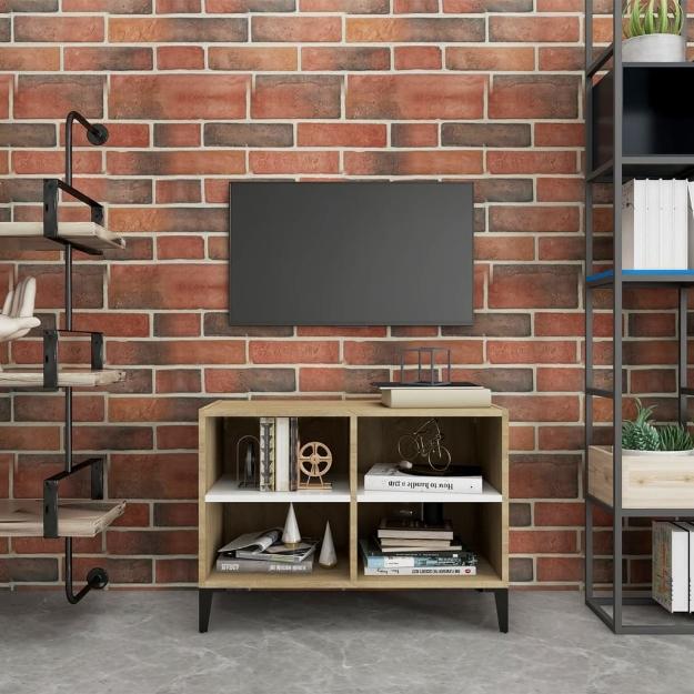 Mobile TV Gambe in Metallo Bianco e Rovere Sonoma 69,5x30x50 cm