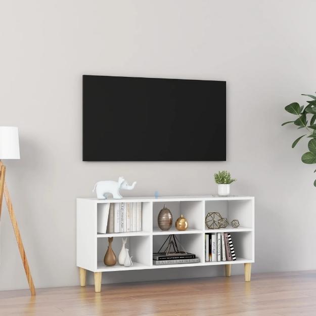Mobile TV con Gambe in Legno Massello Bianco 103,5x30x50 cm
