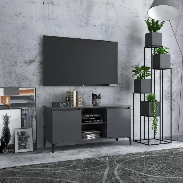 Mobile TV con Gambe in Metallo Grigio 103,5x35x50 cm