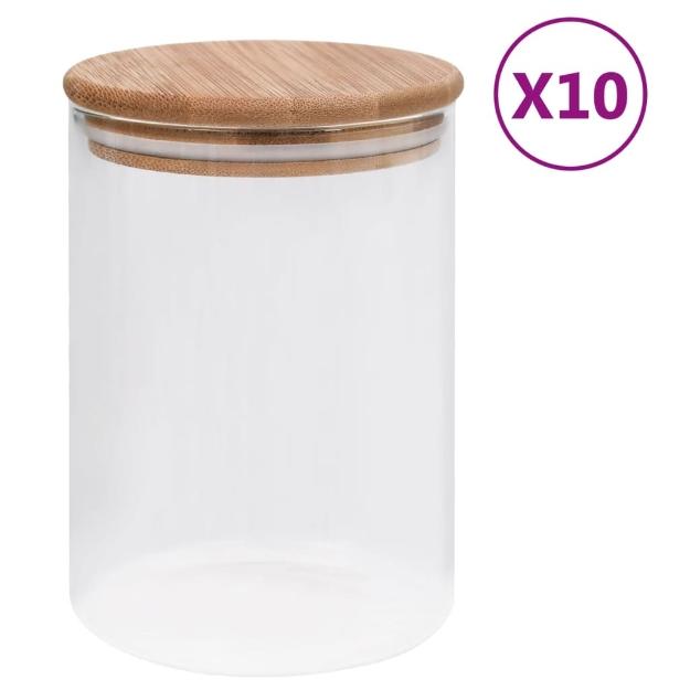 Barattoli di Vetro con Coperchio in Bambù 10 pz 260 ml